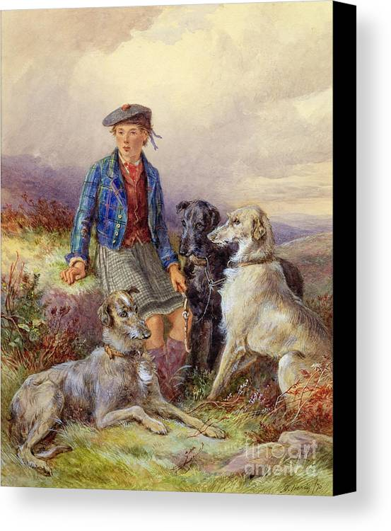 Dog; Tam O'shanter; Kilt; Tartan; Heath; Moor; Lad Canvas Print featuring the painting Scottish Boy With Wolfhounds In A Highland Landscape by James Jnr Hardy
