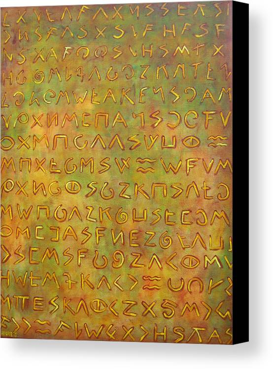 Symbolic Canvas Print featuring the painting Scripture by Hiske Tas Bain