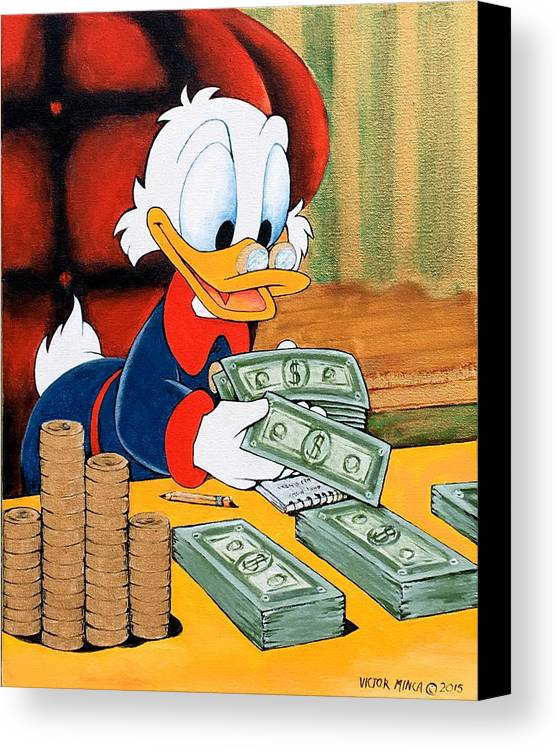 scrooge mcduck counting money canvas print canvas art by victor minca