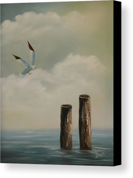 Seascape Canvas Print featuring the painting Seagull Landing by Joni McPherson