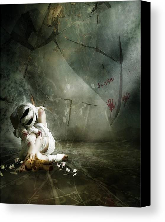Woman Canvas Print featuring the digital art Shame by Mary Hood