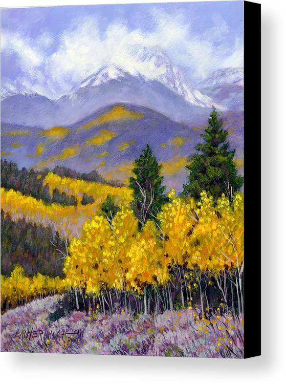 Rocky Mountains Canvas Print featuring the painting Snowing In The Mountains by John Lautermilch