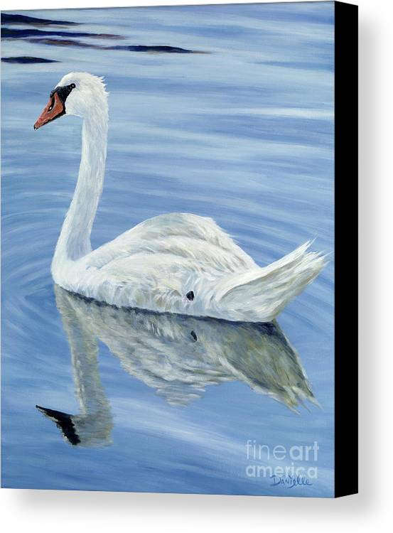 Swan Canvas Print featuring the painting Solitary Swan by Danielle Perry