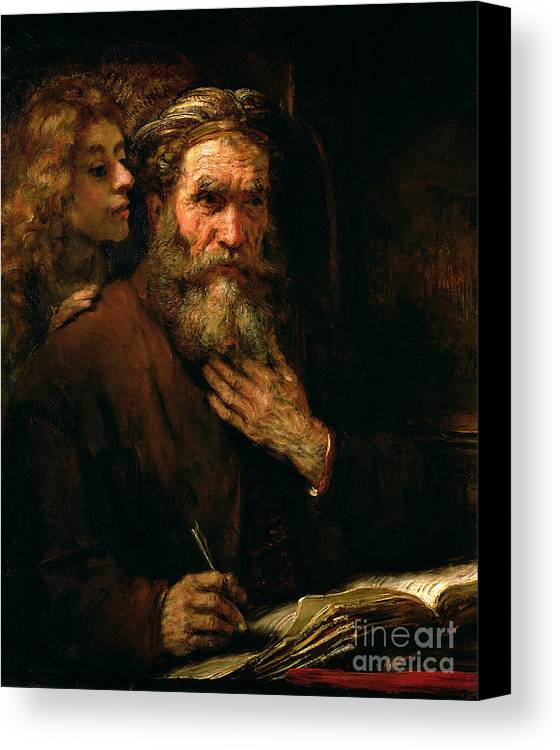 Old Man; Bearded; Gospel; Evangelist; Pen; Writing Canvas Print featuring the painting St Matthew And The Angel by Rembrandt Harmensz van Rijn