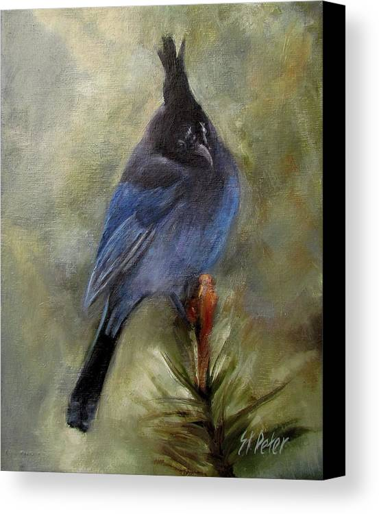 Mountain Canvas Print featuring the painting Stellar Of A Bird by Mary St Peter