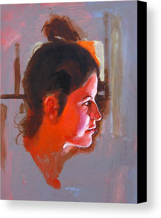 Portrait Canvas Print featuring the painting Stephanie by John Tartaglione