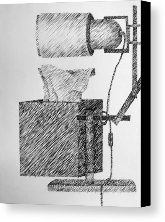 Still Life Canvas Print featuring the drawing Still Life With Lamp And Tissues by Michelle Calkins