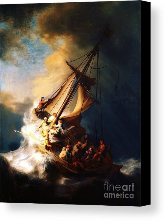Pd Canvas Print featuring the painting Storm On The Sea Of Galilee by Pg Reproductions