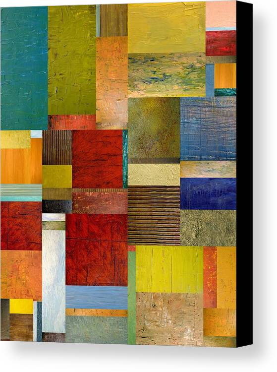 Textural Canvas Print featuring the painting Strips And Pieces L by Michelle Calkins