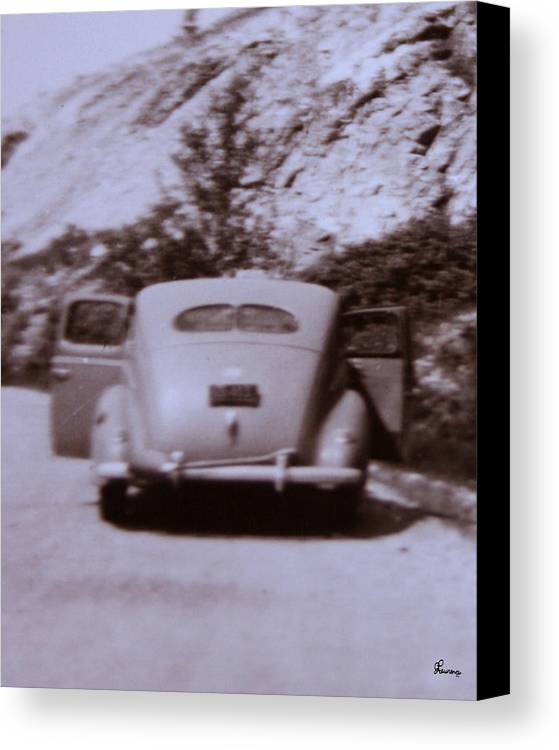 Old Cars Suicide Doors Antique Old Photo Car 1950 Automobile Classic Canvas Print featuring the photograph Suicide Doors by Andrea Lawrence