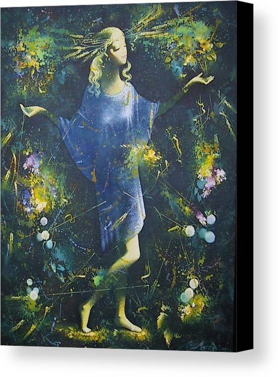 Figures Canvas Print featuring the painting Summer by Andrej Vystropov
