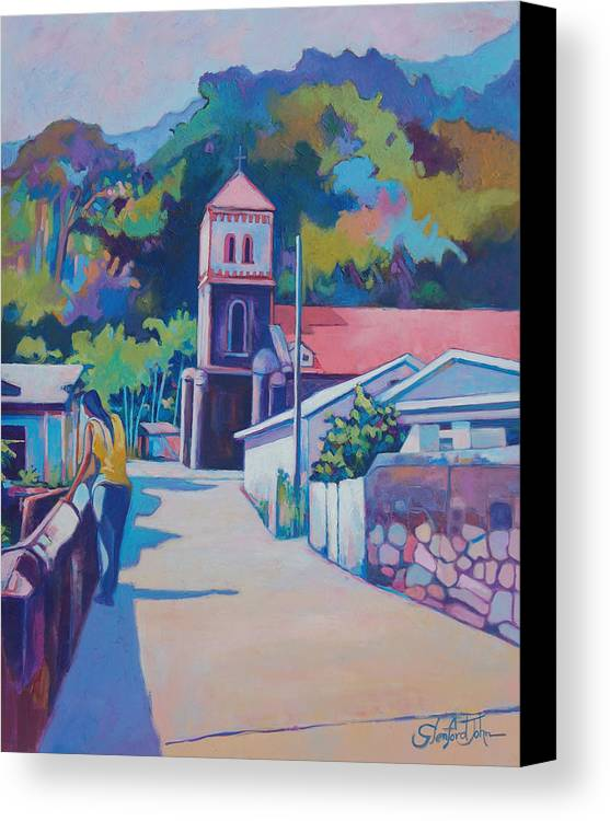 Canvas Print featuring the painting Sunny Soufriere by Glenford John