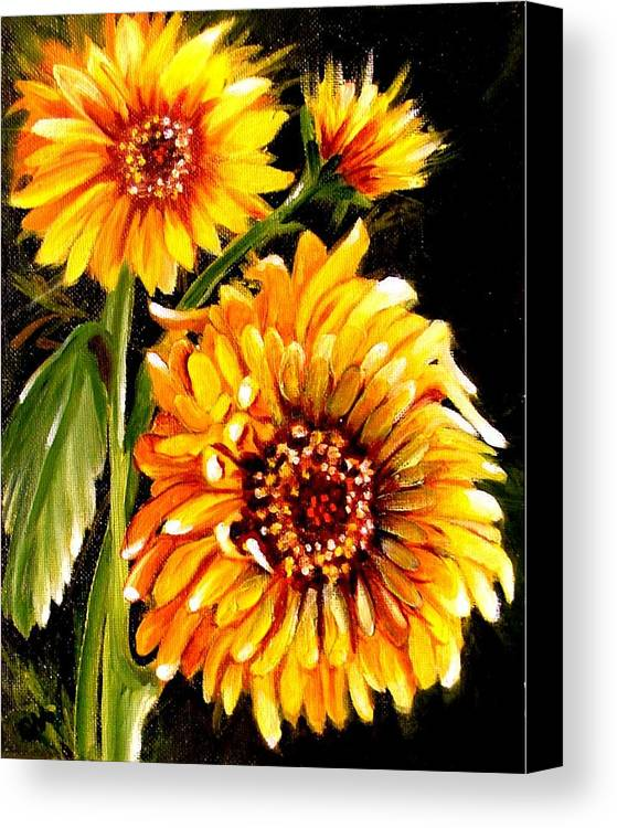 Sunflowers Canvas Print featuring the painting Sunshine by Carol Allen Anfinsen