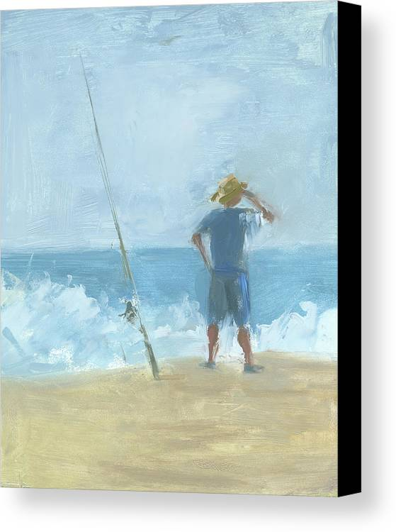 Surf Fishing Canvas Print featuring the painting Surf Fishing by Chris N Rohrbach