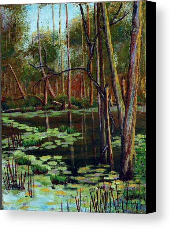 Swamp Canvas Print featuring the painting Swamp Reflections by Art Nomad Sandra Hansen