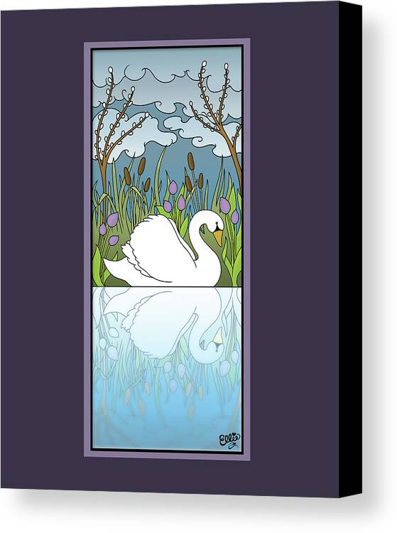 Swan Canvas Print featuring the digital art Swan On The River by Eleanor Hofer