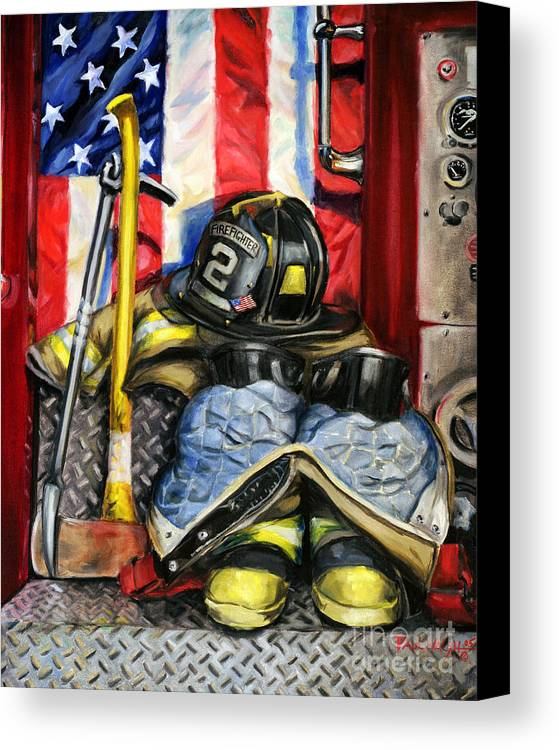 Firefighting Canvas Print featuring the painting Symbols Of Heroism by Paul Walsh