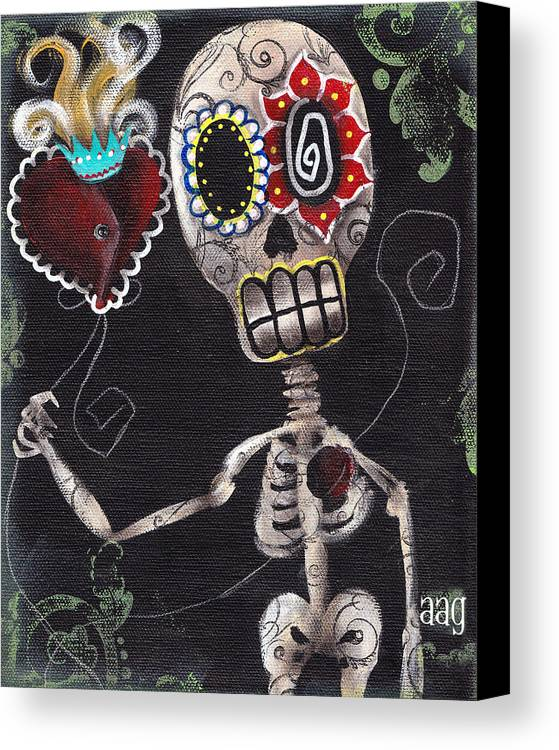 Day Of The Dead Canvas Print featuring the painting Take My Heart by Abril Andrade Griffith