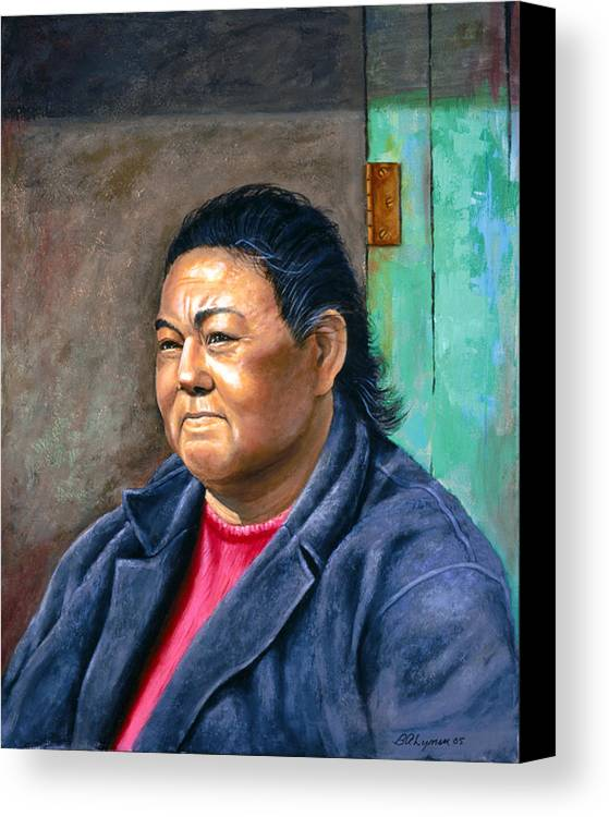 Portraiture Canvas Print featuring the painting Taos Pueblo Woman by Brooke Lyman
