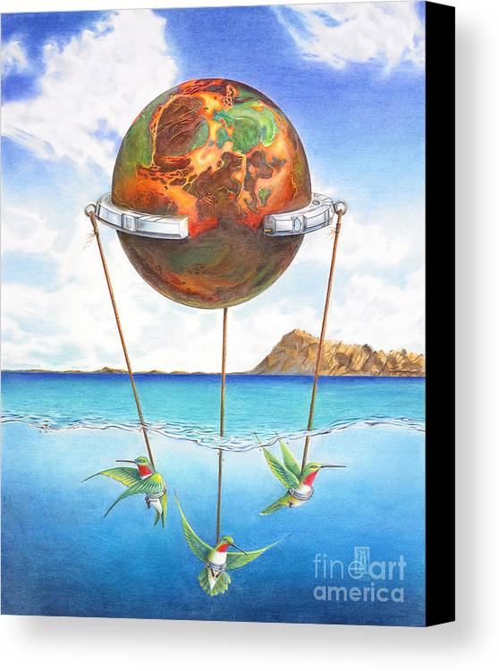 Surreal Canvas Print featuring the painting Tethered Sphere by Melissa A Benson