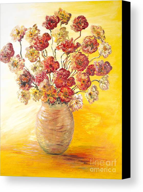 Flowers Canvas Print featuring the painting Textured Flowers In A Vase by Nadine Rippelmeyer