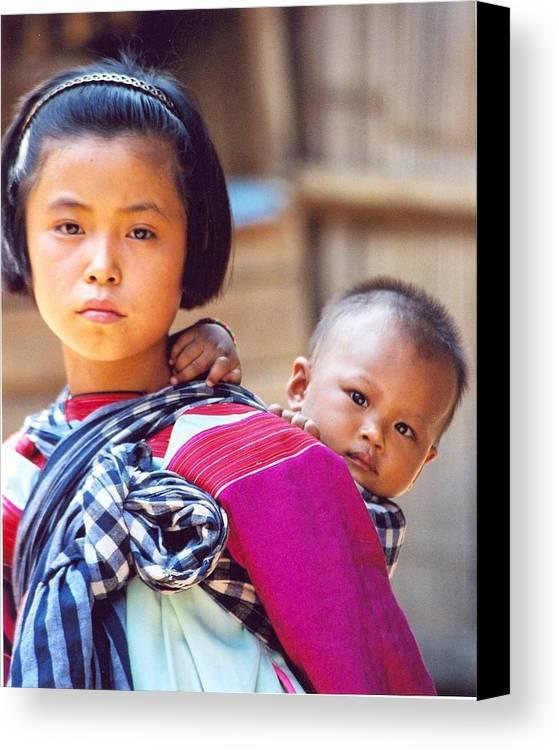 Thailand Children Canvas Print featuring the photograph Thai Children by Linda Russell