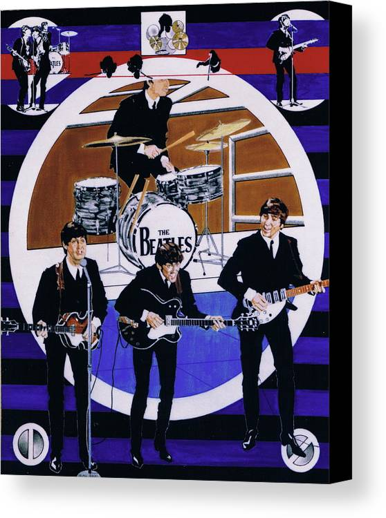 1960s Canvas Print featuring the drawing The Beatles - Live On The Ed Sullivan Show by Sean Connolly
