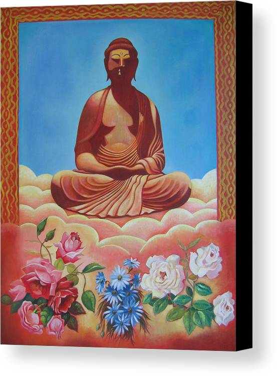 People Canvas Print featuring the painting The Budha by Hiske Tas Bain