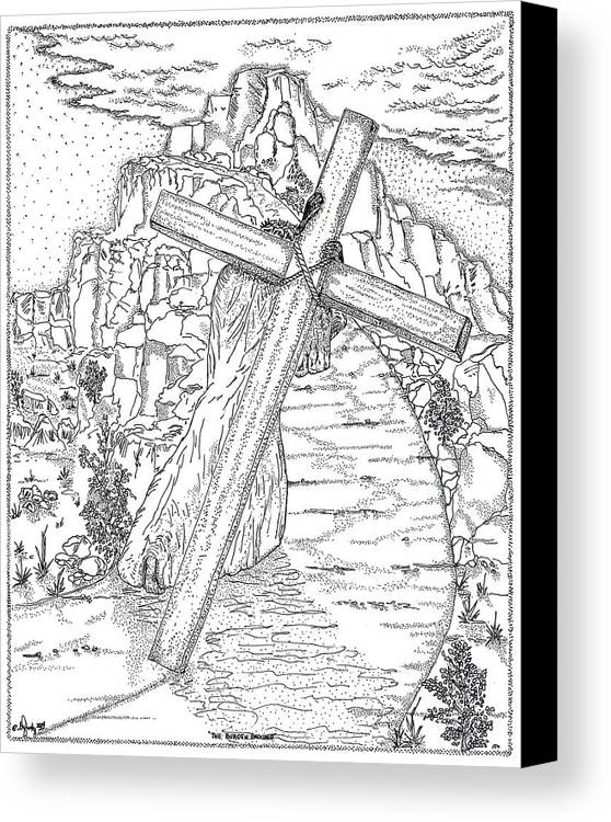 Jesus Christ Canvas Print featuring the drawing The Burden Endured by Glenn McCarthy Art and Photography