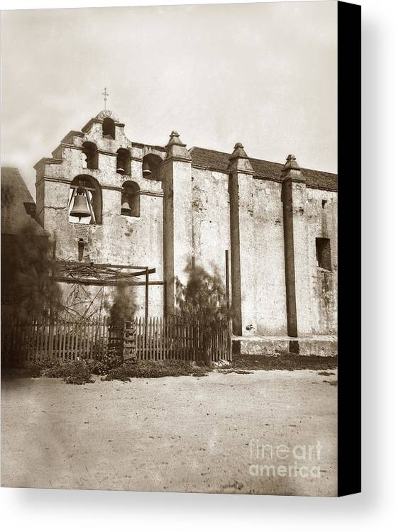 The Campanario Canvas Print featuring the photograph The Campanario, Or Bell Tower Of San Gabriel Mission Circa 1880 by California Views Archives Mr Pat Hathaway Archives