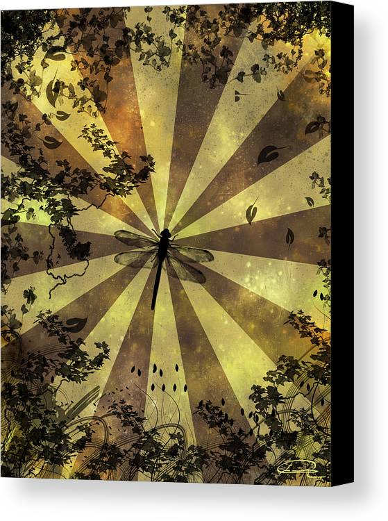 Dragonfly Canvas Print featuring the painting The Dreams Of The Dragonflies by Emma Alvarez