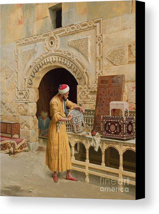 The Canvas Print featuring the painting The Furniture Maker by Ludwig Deutsch