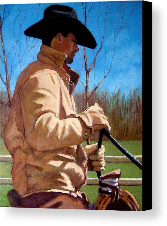 Horse Canvas Print featuring the pastel The Horse Trainer No. 2 by Joyce Geleynse