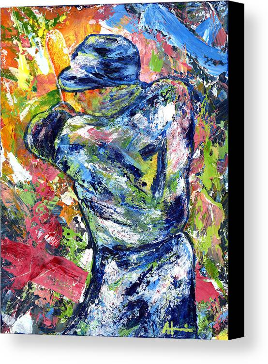 Oil Painting Art Artwork Acrylic Impressionist Impressionism Palette Knife Texture Giclee Print Reproduction Colorful Bright Athlete Athletic Sports Figures Human Mickey Mantle Left Handed New York Yankees Mick Baseball Switch Hitter Mlb Major League Professional Champion Throwing Catch Outfield Shortstop First Second Third Single Double Triple Base Grand Slam No Hitter Play Of The Day Highlight Uniform Stadium Commitment Consecutive Record Hits Home Run Runs Batted In Rbi Color Colour Colourful Canvas Print featuring the painting The Mick Mickey Mantle by Ash Hussein