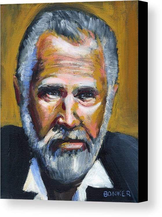 Portrait Canvas Print featuring the painting The Most Interesting Man In The World by Buffalo Bonker