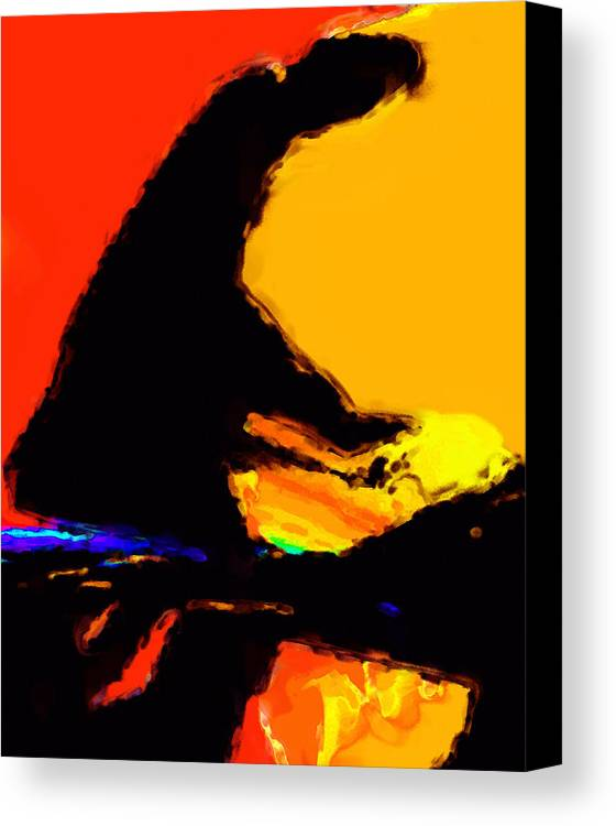 Abstract Canvas Print featuring the digital art The Pianist by Richard Rizzo