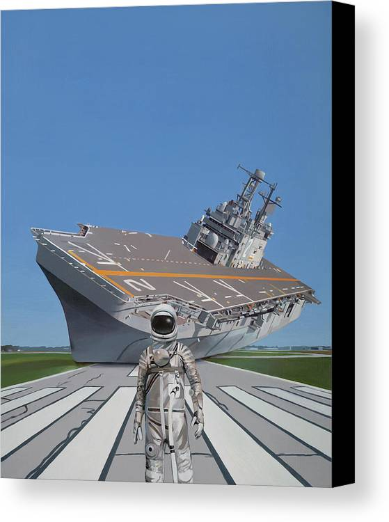 Astronaut Canvas Print featuring the painting The Runway by Scott Listfield