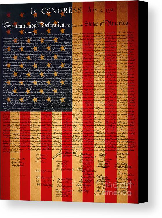 Usa Canvas Print featuring the photograph The United States Declaration Of Independence And The American Flag 20130215 by Wingsdomain Art and Photography