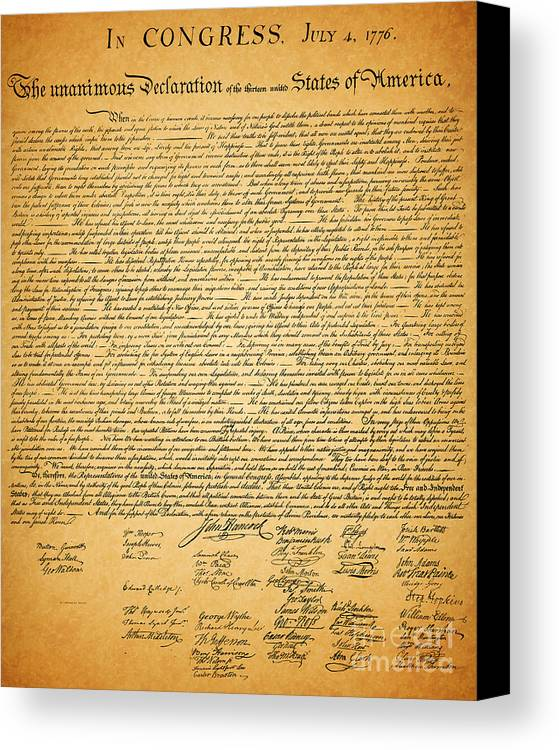 Usa Canvas Print featuring the photograph The United States Declaration Of Independence by Wingsdomain Art and Photography