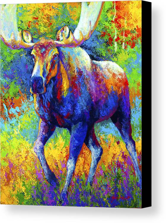 Moose Canvas Print featuring the painting The Urge To Merge - Bull Moose by Marion Rose