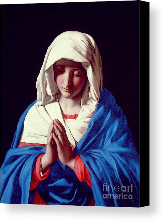 Mary Canvas Print featuring the painting The Virgin In Prayer by Il Sassoferrato