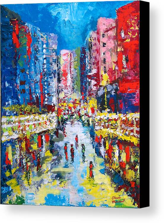 Abstract Canvas Print featuring the painting Theatre Street by Claude Marshall