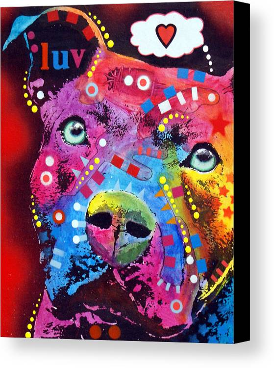 Dean Russo Canvas Print featuring the painting Thoughtful Pitbull Thinks Luv by Dean Russo