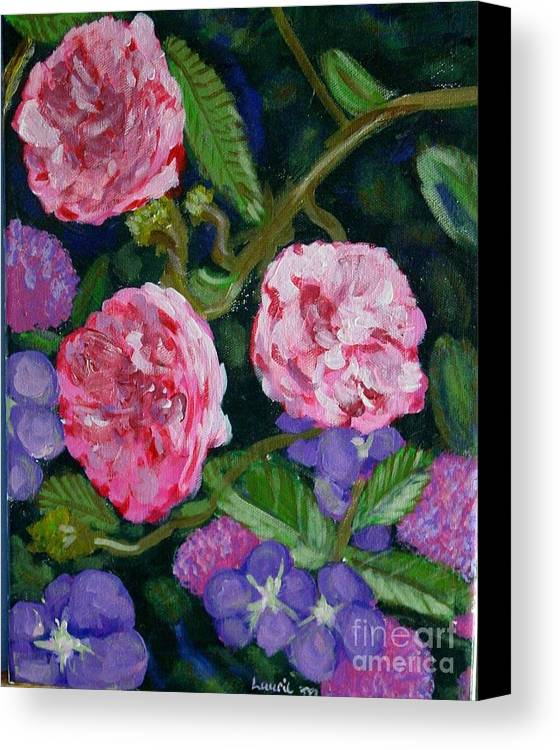 Roses Canvas Print featuring the painting Three For The Show by Laurie Morgan