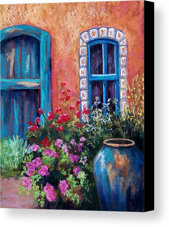 Landscape Canvas Print featuring the pastel Tiled Window by Candy Mayer