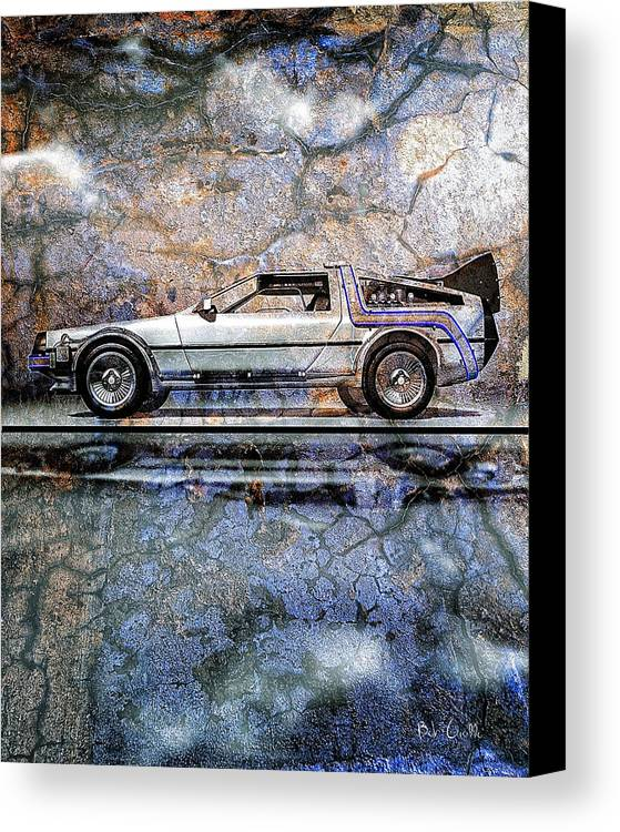 Back To The Future Canvas Print featuring the digital art Time Machine Or The Retrofitted Delorean Dmc-12 by Bob Orsillo