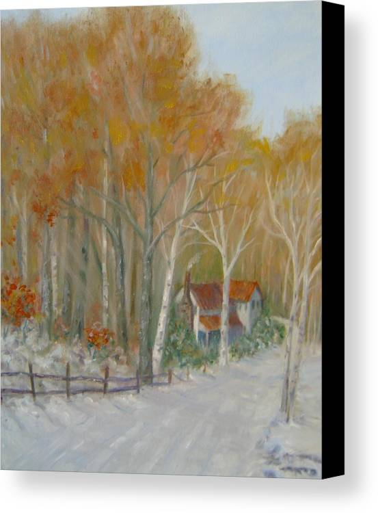 Country Road; House; Snow Canvas Print featuring the painting To Grandma's House by Ben Kiger