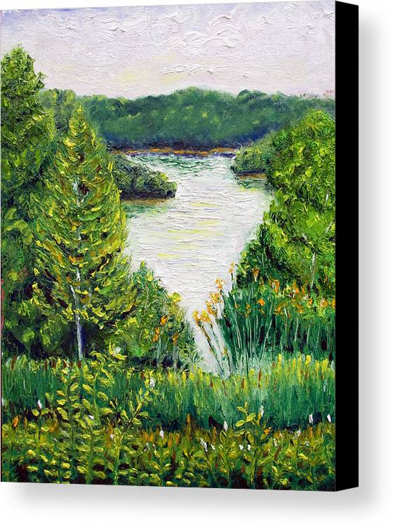Lake Canvas Print featuring the painting Tributary Salt Fork Lake Ohio by Robert Sako