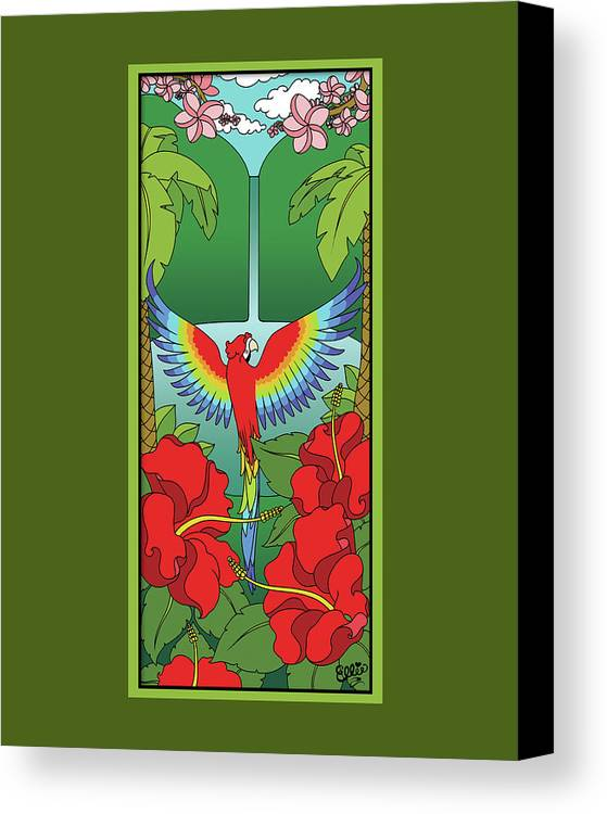 Tropical Canvas Print featuring the digital art Tropical Paradise by Eleanor Hofer