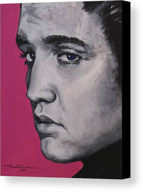 Elvis Presley Canvas Print featuring the painting Trouble - Born Standing Up by Eric Dee